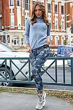 Женские лосины с джинсовым принтом. Голубые