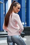 Женский джемпер, универсальный размер, однотонный, свободный. Кофточка. Рисунок лебедей.Розовый, фото 2