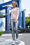 Женский джемпер, универсальный размер, однотонный, свободный. Кофточка. Рисунок лебедей.Розовый, фото 3