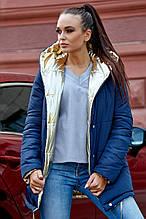 Женская двухсторонняя теплая осенне-зимняя куртка. Цвет синяя и золотая