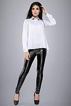 Женская блузка(блуза) с воротником и манжетами, с вышивкой,длинными рукавами, просторная.Белая