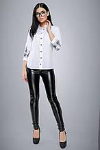 Женская блузка(блуза) с воротником, планкой и рукавами три четверти. С вышивкой. Белая