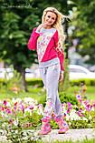 Женский трикотажный спортивный, городской, домашний костюм. Малиновый с серым, фото 3