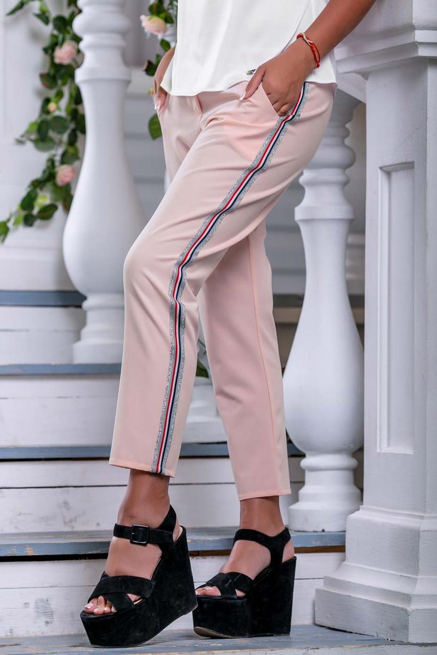Женские летние штаны с лампасами и карманами. Розовые