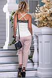 Женские летние штаны с лампасами и карманами. Розовые, фото 2