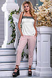 Женские летние штаны с лампасами и карманами. Розовые, фото 4