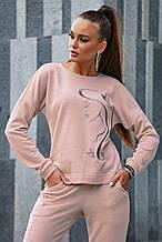 Женский трикотажный спортивный костюм с узором. Пудровый, розовый
