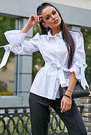 Женская рубашка, блузка с длинными широкими рукавами на завязках, с воротником и поясом. Белая
