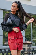 Женская блузка (блуза) из шелка Армани. Реглан с оборками, с длинными широкими рукавами. Черная