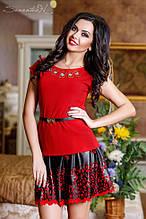 Трикотажная летняя блуза(блузка, кофточка) с короткими рукавами. Длинная, однотонная. Красная