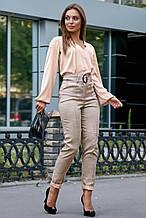 Женская блузка(блуза) шелковая, с длинным широким рукавом и V-вывезом. Бежевая, капучино