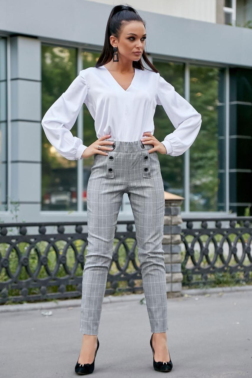 Жіночі ділові штани на високій талії. Картаті. Обтягуючі. Сірі