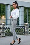 Жіночі ділові штани на високій талії. Картаті. Обтягуючі. Сірі, фото 3