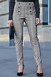 Жіночі ділові штани на високій талії. Картаті. Обтягуючі. Сірі, фото 4