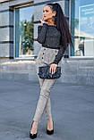 Жіночі ділові штани на високій талії. Картаті. Обтягуючі. Сірі, фото 5