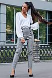 Жіночі ділові штани на високій талії. Картаті. Обтягуючі. Сірі, фото 6