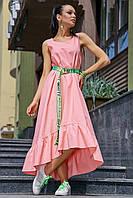 Летнее розовое платье макси,ниже колена ассиметричное с воланами без рукавов,свободное