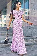 Летнее длинное платье в пол на запах с цветочным принтом, прямое. Розовое