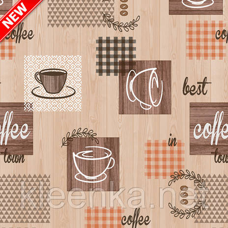 Клеенка на кухонный стол Декорама рисунок  Кофе, ширина 140 см, фото 2