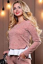 Женский свитшот-кофта из ангоры с люрексом, с белой оборкой и вышивкой из жемчуга. Розовая