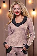 Женский свитшот с круглой низкой горловиной и черным кружевом. Трикотажная кофточка. Розовая