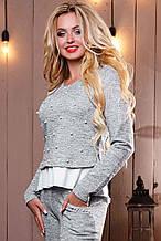 Женский свитшот-кофта из ангоры с люрексом, с белой оборкой и вышивкой из жемчуга. Серая