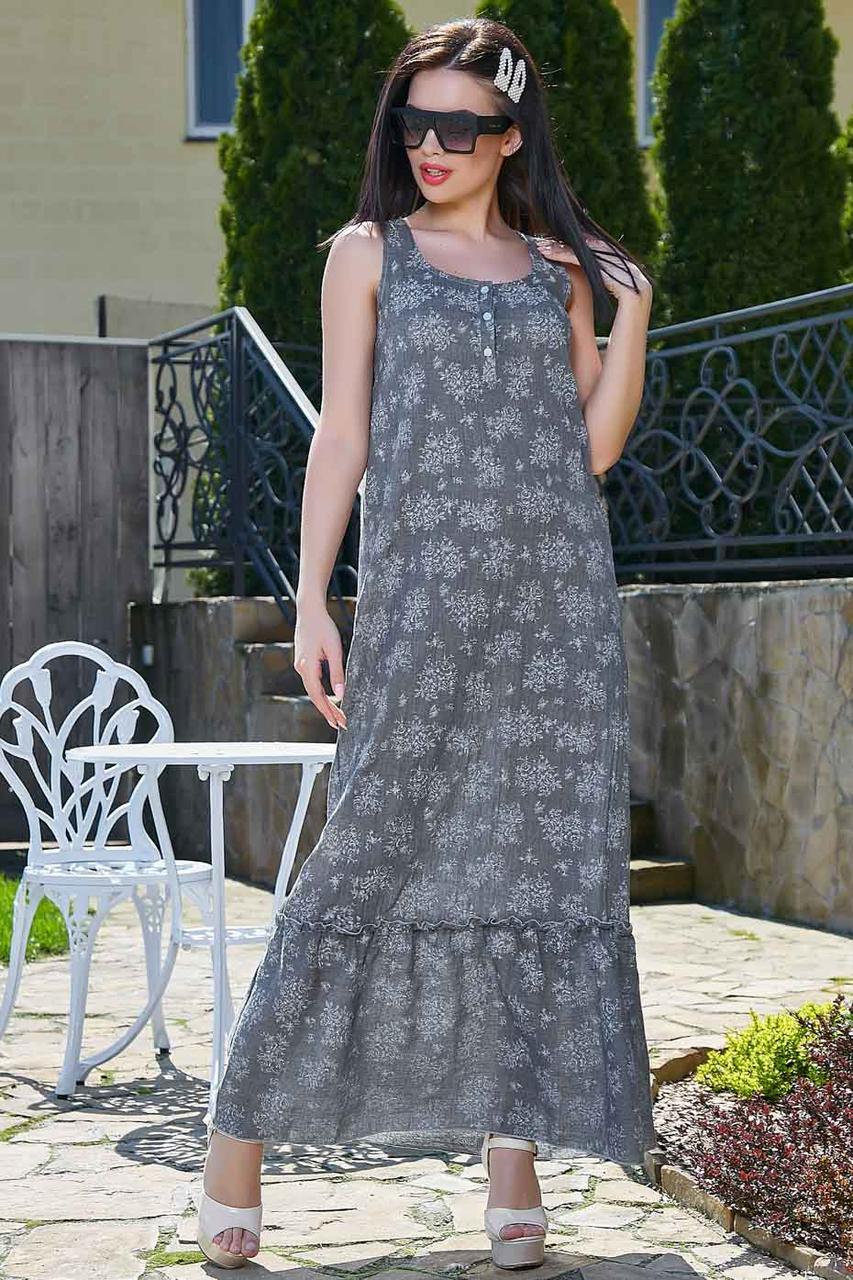 Летнее платье в пол, длинное без рукавов, свободное. Сарафан с цветочным принтом. Серое