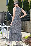 Летнее платье в пол, длинное без рукавов, свободное. Сарафан с цветочным принтом. Серое, фото 2