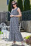 Летнее платье в пол, длинное без рукавов, свободное. Сарафан с цветочным принтом. Серое, фото 3