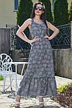 Летнее платье в пол, длинное без рукавов, свободное. Сарафан с цветочным принтом. Серое, фото 4