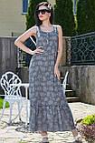 Летнее платье в пол, длинное без рукавов, свободное. Сарафан с цветочным принтом. Серое, фото 5