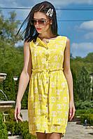 Летнее короткое желтое платье мини выше колена без рукавов. Короткий сарафан