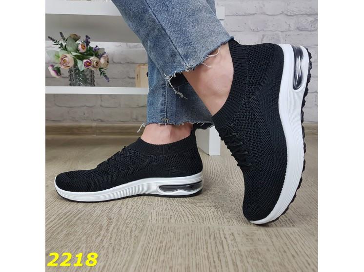 Кроссовки 36,37 размеры  черные текстильные с компенсатором на амортизаторах легкие К2218