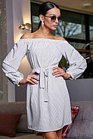 Летнее белое платье в горошек мини, выше колена с открытыми плечами
