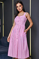 Платье-сарафан в тонкую полосочку на шлейках. Бело-розовое