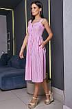Плаття-сарафан в тонку смужку на шлейках. Біло-рожеве, фото 3