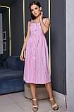 Плаття-сарафан в тонку смужку на шлейках. Біло-рожеве, фото 4