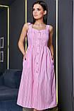 Плаття-сарафан в тонку смужку на шлейках. Біло-рожеве, фото 5