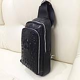 Городской мужской рюкзак сумка из натуральной кожи крокодилий принт, фото 2