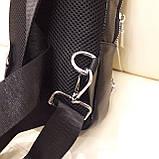 Городской мужской рюкзак сумка из натуральной кожи крокодилий принт, фото 3