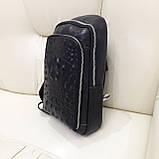 Городской мужской рюкзак сумка из натуральной кожи крокодилий принт, фото 4