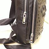 Городской мужской рюкзак сумка из натуральной кожи крокодилий принт, фото 6
