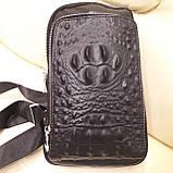 Городской мужской рюкзак сумка из натуральной кожи крокодилий принт, фото 8