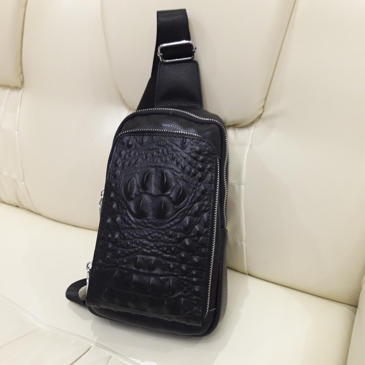 Городской мужской рюкзак сумка из натуральной кожи крокодилий принт