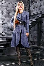 Кардиган як сукня, нижче коліна, з ангори з люрексом. В ельфійське стилі. Синій