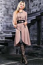 Кардиган як сукня, нижче коліна, з ангори з люрексом. В ельфійське стилі. Бежевий, пудровий