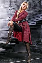 Кардиган як сукня, нижче коліна, з ангори з люрексом. В ельфійське стилі. Марсала, бордовий,бордо