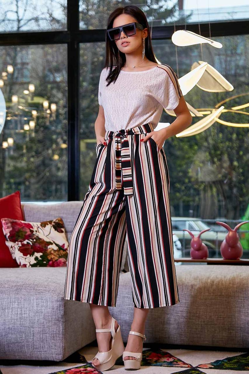 Женские брюки-кюлоты,широкие,короткие,ниже колена.На высокой талии с карманами.В полоску.Черно-белые