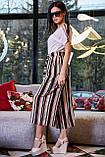 Женские брюки-кюлоты,широкие,короткие,ниже колена.На высокой талии с карманами.В полоску.Черно-белые, фото 4