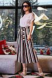 Женские брюки-кюлоты,широкие,короткие,ниже колена.На высокой талии с карманами.В полоску.Черно-белые, фото 5